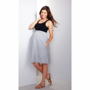 Maternal America Empire Seersucker Maternity Dress - Black and White