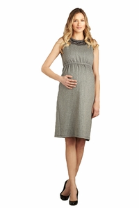 Maternal America Herringbone Embellished Maternity Dress