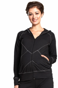 Maternal America Hooded Maternity Track Jacket - FINAL SALE
