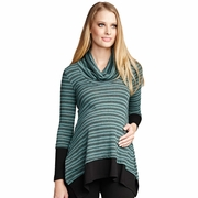 Maternal America Layered Loose Fit Maternity Sweater - Mojito Stripes