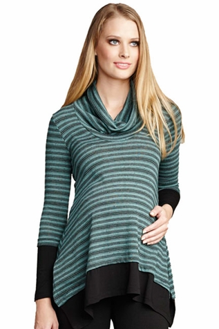SOLD OUT Maternal America Layered Loose Fit Maternity Sweater - Mojito Stripes