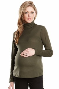 Maternal America Lightweight Turtleneck Ribbed Maternity Top