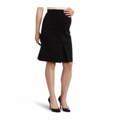 Maternal America Lightweight Twill Front Pleat Maternity Skirt