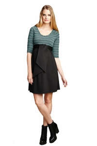 Maternal America Mojito Stripe Scoop Neck Front Tie Maternity Dress