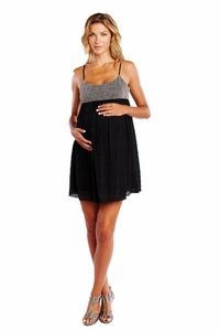 Maternal America Net And Gauze Baby Doll Maternity Dress