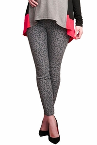 Maternal America Over Belly Printed Maternity Skinny Jeans - Cheetah