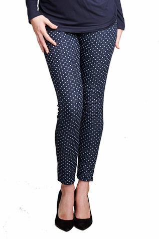 SOLD OUT Maternal America Over Belly Printed Maternity Skinny Jeans - Polka Dot