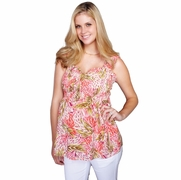 Maternal America Printed Pinched Smocked Maternity Top