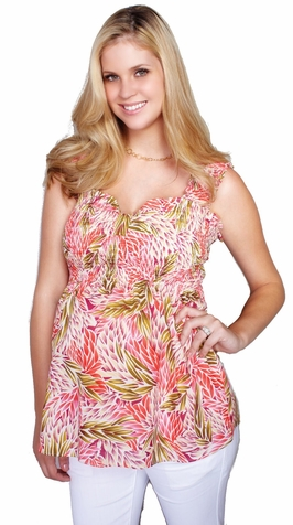 SOLD OUT Maternal America Printed Pinched Smocked Maternity Top