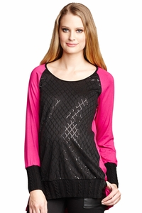 Maternal America Raglan Sleeve Sequin Maternity Top