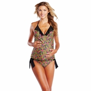 Maternal America Rose Ruffled Two Piece Maternity Tankini Swimsuit - Butterfly