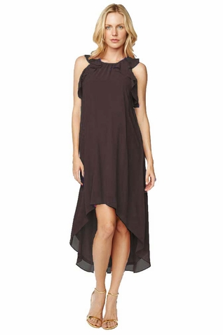 Maternal America Ruffle Chiffon Hi-Lo Maternity Dress