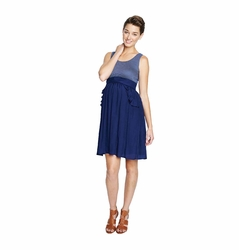 Maternal America Ruffle Pocket Maternity Dress