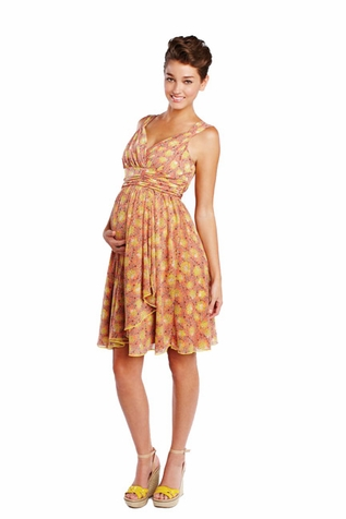 Maternal America Ruffle Wrap Chiffon Maternity Dress