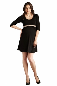 SOLD OUT Maternal America Scoop Neck Belted Career Maternity Dress