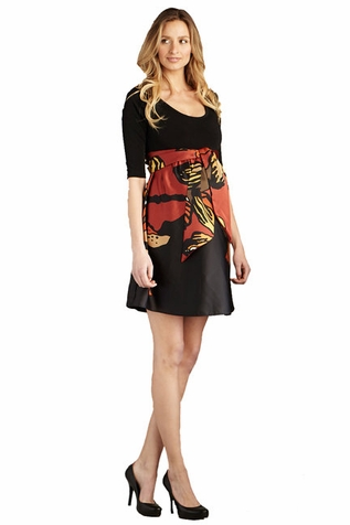 SOLD OUT Maternal America Scoop Neck Front Tie Print Maternity Dress
