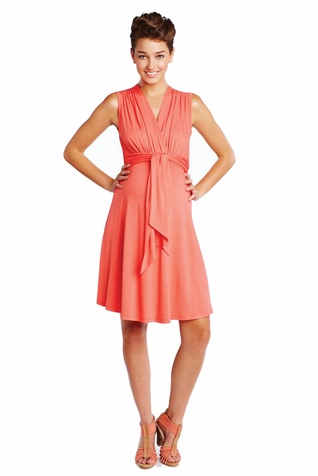 SOLD OUT Maternal America Sleeveless Mini Front Tie Maternity Dress