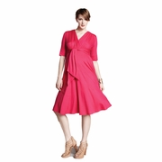 Maternal America Solid Front Tie Maternity Dress