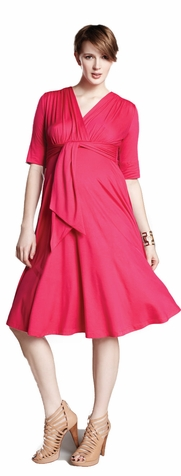 SOLD OUT Maternal America Solid Front Tie Maternity Dress