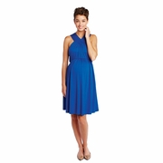 Maternal America Solid V Halter Maternity Dress