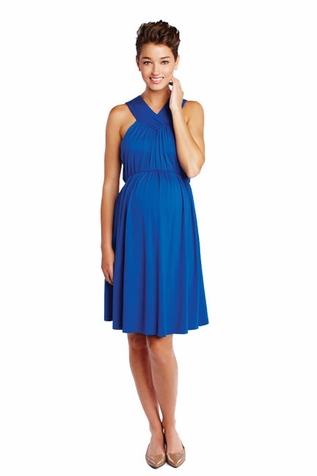 SOLD OUT Maternal America Solid V Halter Maternity Dress