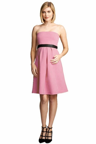 Maternal America Strapless Vegan Suede Trim Cocktail Dress