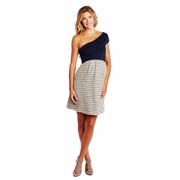 SOLD OUT Maternal America Striped Asymmetrical Shoulder Maternity Dress