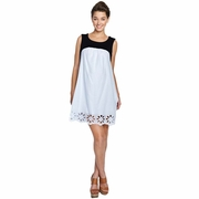 Maternal America Swiss Dot Eyelet Babydoll Maternity Dress