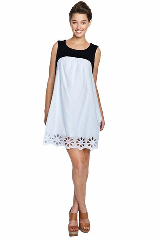 SOLD OUT Maternal America Swiss Dot Eyelet Babydoll Maternity Dress