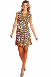 Maternal America Wire Print Mini Front Tie Maternity Dress