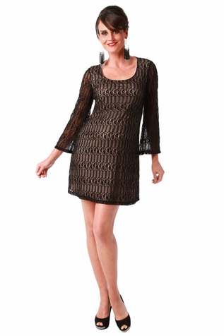SOLD OUT Maternite Bell Sleeved Lace Maternity Cocktail Dress