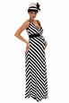 Maternite Chevron Stripe Belted Maternity Maxi Dress