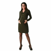 Maternite Cowl Neck Military Style Maternity Dress