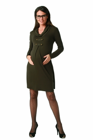 SOLD OUT Maternite Cowl Neck Military Style Maternity Dress