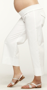 Maternite Elastic Shierred WhiteCropped Maternity Pants - FINAL SALE