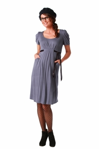 Maternite Pleated Scoop Neck Maternity Dress