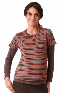Maternite Striped Double Layer Maternity And Nursing Twofer Top