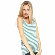 Nom Amber Striped Maternity Ruched Tank Top