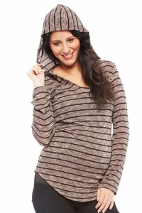 SOLD OUT Nom Aria Striped Knit Maternity Hoodie