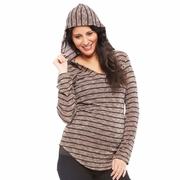 Nom Aria Striped Knit Maternity Hoodie