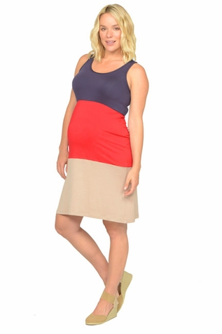 SOLD OUT NOM Cece Color Block Tier Maternity Tank Dress