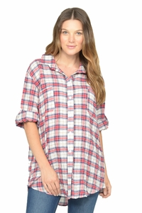 NOM Gina Button Down Plaid Maternity Shirt