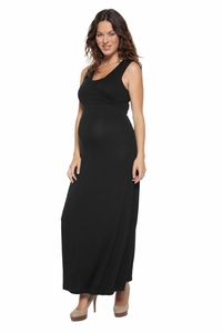 NOM Maternity And Nursing Surplice Maxi Dress