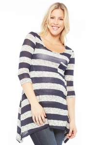 Nom Peyton Asymmetrical 3/4 Sleeve Knit Sweater