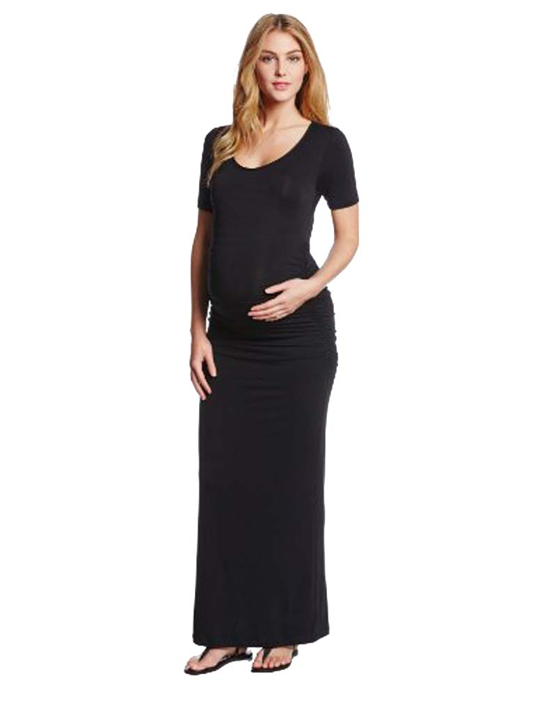 Maternity ruched maxi dress