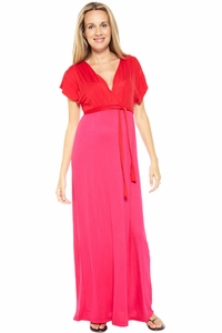 Nom Skylar Color Block Maternity Maxi Dress