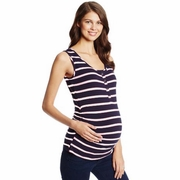 NOM Maternity Snap Front Ruched Maternity Nursing Tank Top