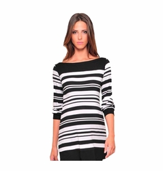 Olian 3/4 Sleeve Boatneck Maternity Tunic Top - Stripes