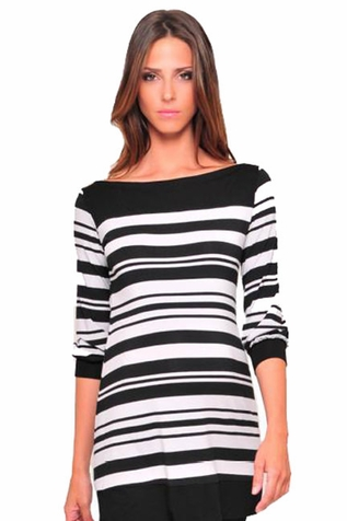 SOLD OUT Olian 3/4 Sleeve Boatneck Maternity Tunic Top - Stripes