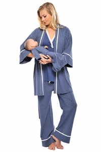 SOLD OUT Olian 4 Piece Mom And Baby Maternity And Nursing Pajama Set - Blue